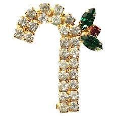 Christmas candy cane brooch-clear, green, red prong set rhinestones