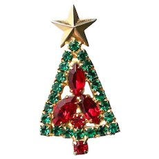Christmas tree with red & green prong set rhinestones-gold tone metal vintage brooch