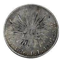 1876 Mexico Silver 8 Reales Love Token