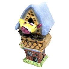 Garden Bird House Standing Limoges Box