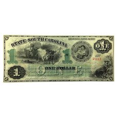 1872 South Carolina $1 Obsolete Currency CR-3