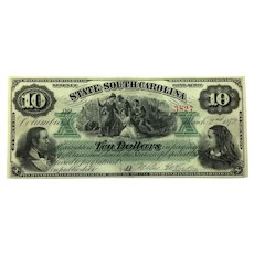 1872 South Carolina $10 Obsolete Currency CR-6