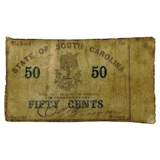 1863 South Carolina 50 Cent Obsolete Currency SC195-550