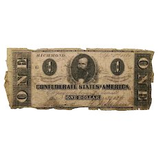 1862 CSA $1 Currency - T-55 (Confederate States of America)