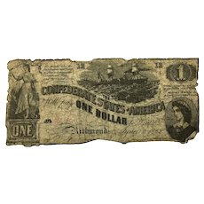 1862 CSA $1 Currency - T-44 (Confederate States of America)