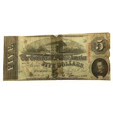 1863 CSA $5 Currency - T-60 (Confederate States of America)