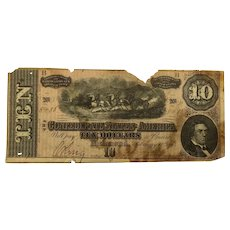 1864 CSA $10 Currency - T-68 (Confederate States of America)