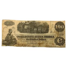 1862 CSA $100 Currency - T-40 (Confederate States of America)