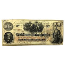 1862 CSA $100 Currency - T-41 (Confederate States of America)
