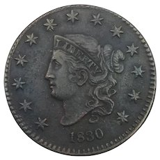 1830 Coronet Large Cent Medium Letters