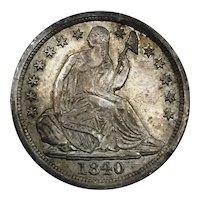 1840 Seated Liberty Half Dime No Drapery