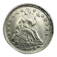 1854 Arrows Seated Liberty Half Dime