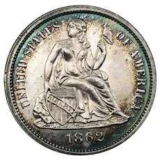 1862 Proof Seated Liberty Dime