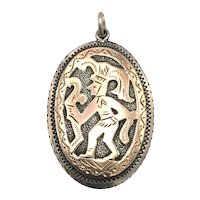 Aztec - Sterling and 10K Gold Pendant