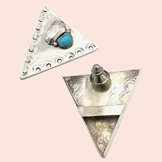 Southwestern Turquoise Collar Tips - Sterling Silver
