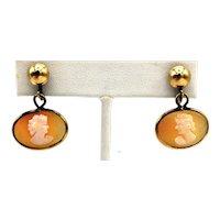 Cameo Screwback Earrings - Gold Filled