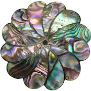 Taxco Sterling Abalone Floral Pendant/Brooch