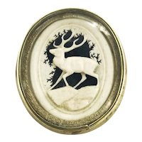 Hand-Carved Early American Stag Brooch