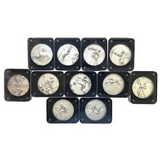 Salvador Dali 1984 Olympic Medallions - Complete Silver Set