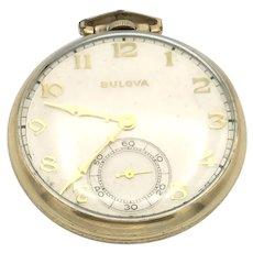 Bulova Open Face 10K RGP Pocket Watch