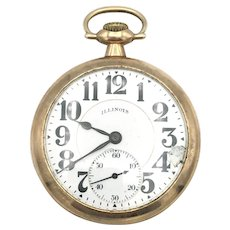 Illinois Gold Filled Open Face Pocket Watch