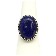Lapis Lazuli Cabochon Ring - Sterling Silver