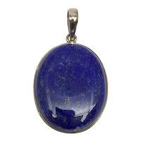 Lapis Lazuli Cabochon Pendant - Sterling Silver