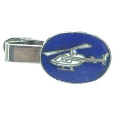 Bell Jet Ranger Enameled Tie Clip