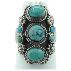 Seven-Stone Turquoise Ring - Sterling Silver