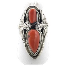 Two-Stone Red Coral Ring - Sterling Silver