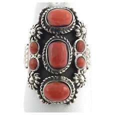 Seven-Stone Red Coral Ring - Sterling Silver