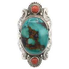 Turquoise & Red Coral Ring - Sterling Silver
