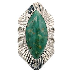 Green Turquoise Cabochon Ring - Sterling Silver
