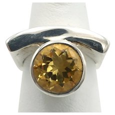 Citrine Square Ring - Sterling Silver