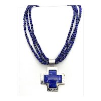 Lapis Lazuli Cross Pendant on a Lapis Beaded Necklace  - Sterling Silver
