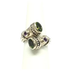 Peridot & Amethyst Ring - Sterling Silver