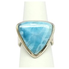 Larimar Cabochon Ring - Sterling Silver