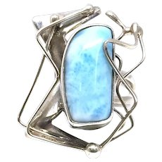 Larimar Cabochon Ring - Hand-Wrought Sterling Silver