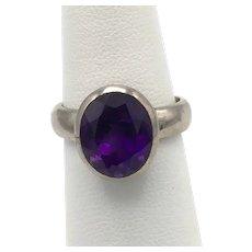 Oval-Cut Amethyst Ring - Sterling Silver