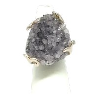 Druzy Amethyst Ring - Sterling Silver