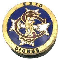 Knights of Columbus, Columbian Squires Lapel Pin, 'ESTO DIGNUS'