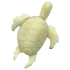 Sea Turtle Carved From Ivory Nuts (Tagua)