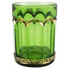 "Riverside Empress Green Tumbler Glass, Antique EAPG c1899 Emerald & Gold 3 3/4"""