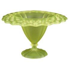 """Tiffin 310 Open Work Canary Satin Compote Vase, Vintage Vaseline Glass 8 1/2"""""""