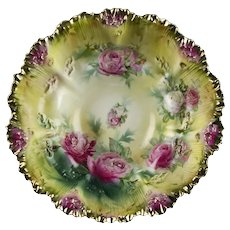 """RS Prussia Icicle Bowl with Pink Cabbage Roses & Gold, Antique Marked 10 1/2"""""""