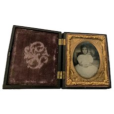 Beautiful Ruby Ambrotype 1/9 Plate Little Girl W/ Union Case Patriotic Mat, Soldier's Daughter?