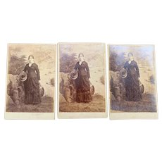 X3 Identical Cabinet Cards Southern Bell Woman W A Reed Mobile Alabama