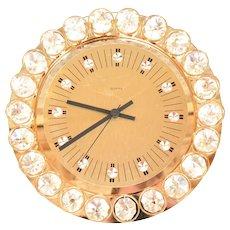 Crystal wall clock, Junghans Hollywood Regancy style, Germany, 1970s