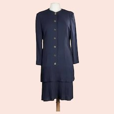 Vintage French Couture Guy Laroche Crepe Midi-Dress with Layered Pleats