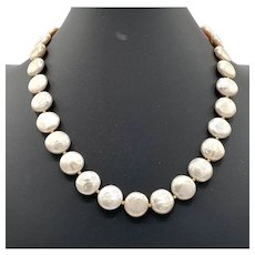 Cultured Coin Pearl and 14k Gold Necklace